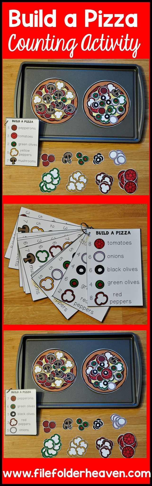 These Counting Activities: Building Pizzas can be set up as cookie sheet…