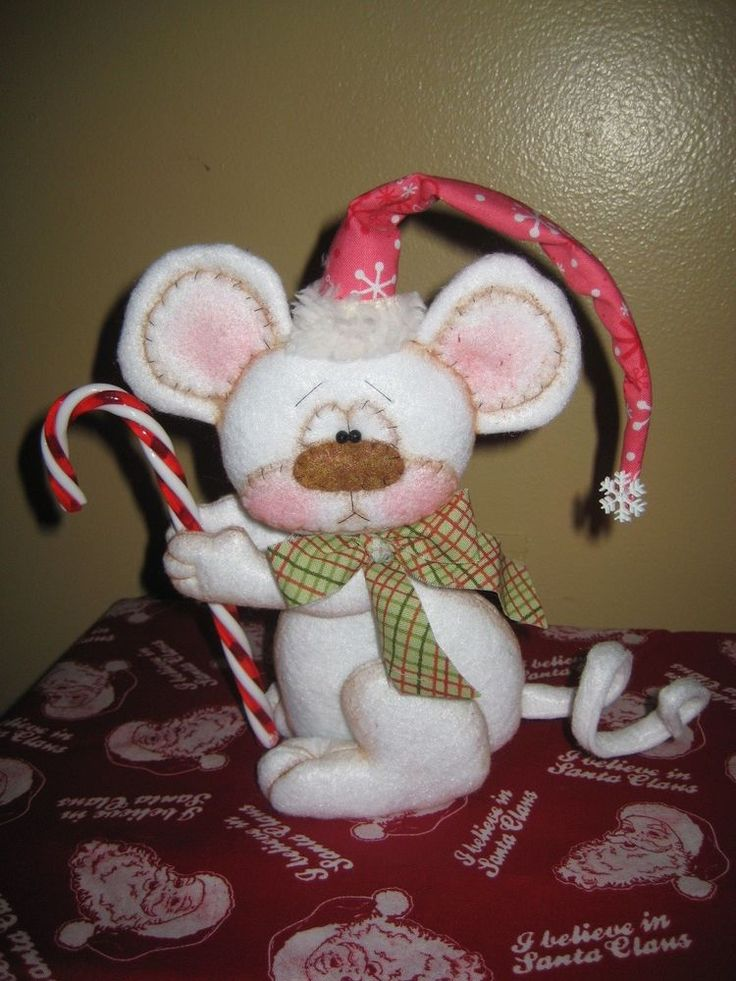 PRIMITIVE HC CHRISTMAS HOLIDAY MOUSE BEAR DOLL WITH CANDY CANE SHELF SITTER  #Country