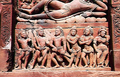 Pandava Princes and Wife Draupadi Heroes of the epic Mahabharata.