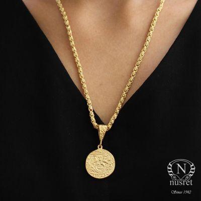 925 Ayar Gümüş Aslan Figürlü Madalyon Kolye, Sarı