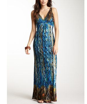 Another great find on #zulily! Blue & Brown Peacock Empire-Waist Maxi Dress by Papillon Imports #zulilyfinds