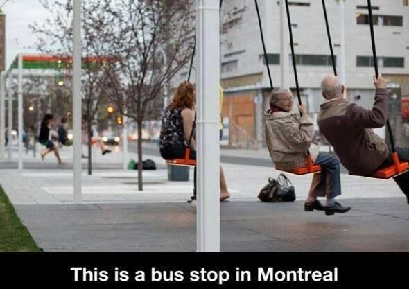 OMG - that s awesome!    Meanwhile in Canada. Bus stop swing in Montreal.