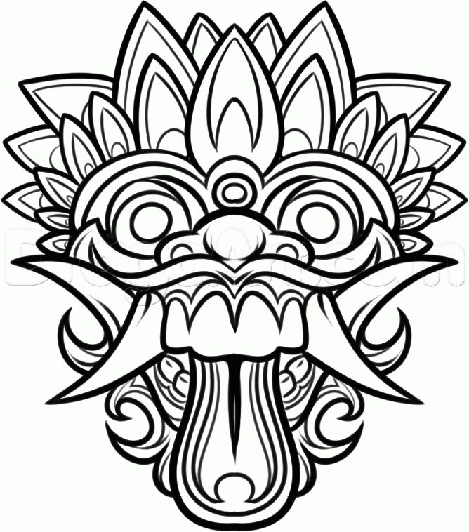 Mask Drawing For Kids How to draw a balinese mask,