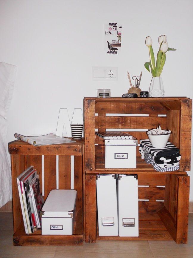 Decorar con cajas de madera antiguas via miblog - Cajas de madera para decorar baratas ...