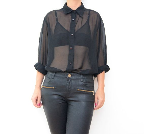 Vintage black sheer long sleeve women blouse / transparent shirt ...