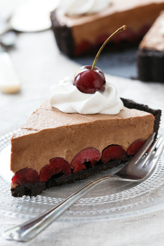 Frozen Black Forest Tart- chocolate crust, cherries and chocolate ...