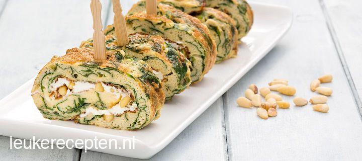 Omeletrolletjes met spinazie - bakboter vervangen door olijfolie voor VZL