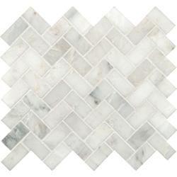 BuildDirect: Natural Stone Mosaic - Arabescato Herring Bone | Mixed