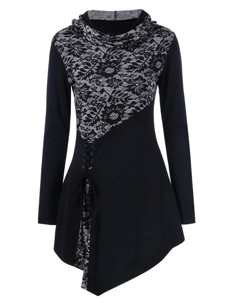 $9.45 Lace-Up Hooded Asymmetrical T-Shirt (per conversion chart I'd be size 3x = US size 10...do like the black, blue and maybe purple one)