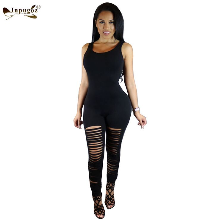 Solid Black Hot Trend Fashion Sexy Hollow out Skinny Club Women Sleeveless Long Rompers Women Jumpsuits