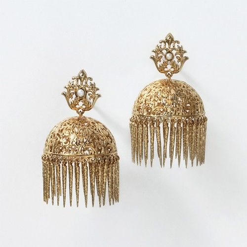 "Our small Jaali Filigree Dome earring revives a classic indian ""jhumka"" style earring. Suitable for the red carpet or a white party, the dainty fringes dangle off the 14k gold plated brass filigree half domes. Handcrafted with freshwater pearl and 14k gold plated brass. Measures 5.4 cm long by 3 cm across and weighs 17 grams per earring."