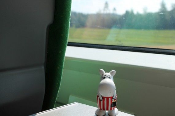 Moomin on the train.