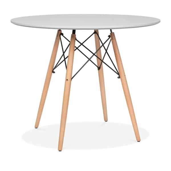 DSW Round Dining Table - Grey Top, Natural Legs - Eames Inspired