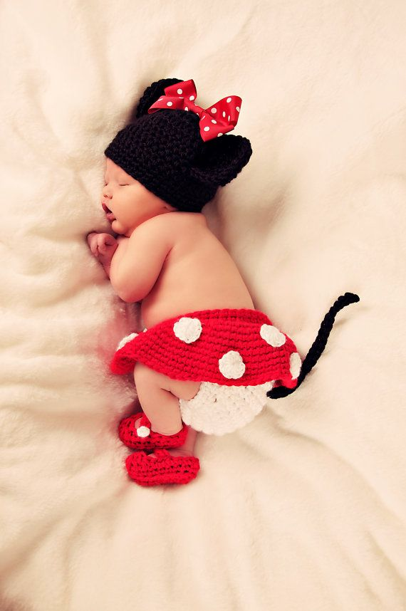 Minnie Mouse hat with Red Bow Diaper Cover and Shoes from LadyHudd