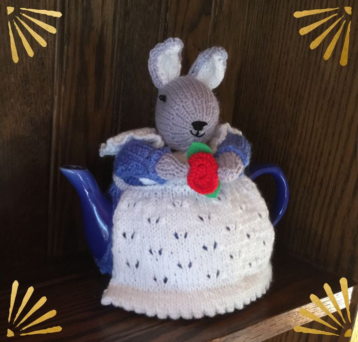 From the free pattern I found on Pinterest.   A mother rabbit tea cozy for my friends birthday
