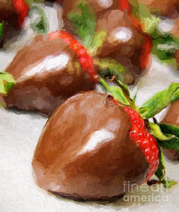 Chocolate Covered Strawberries Painterly 1   Check out my galleries for more Painterly or Food art   FAA WATERMARK IS NOT ON FINAL PRINT... IT IS FOR WEB USE ONLY   Buy Art Online. Buy Photos Online. Buy Photography Online. Buy paintings Online