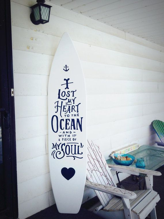 6 Foot Wood White Surfboard Wall Hanging With Quote I Lost My Heart To The Ocean Sign Foot Hanging Heart Surfbrett Dekor Strandhausdekor Surfbrett Kunst