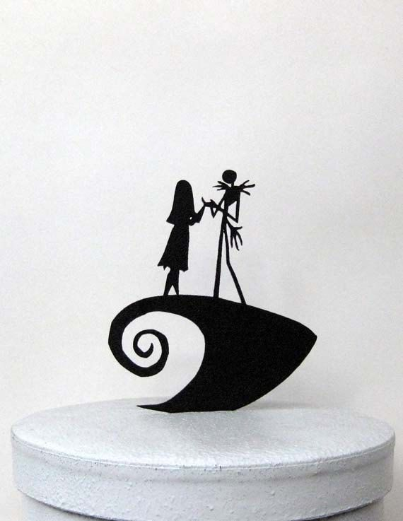 Nightmare Before Christmas Wedding Cake topper made of 1/8 black ABS    Size; 5Wx6H    Topper is lightweight so it will not sink into your cake, yet