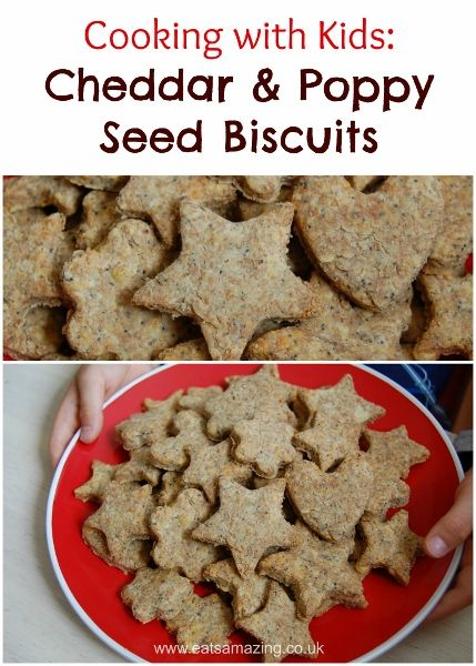 Cooking with Kids - Cheddar and Poppy Seed Biscuits from Eats Amazing UK  - with free child friendly recipe sheet to download and print