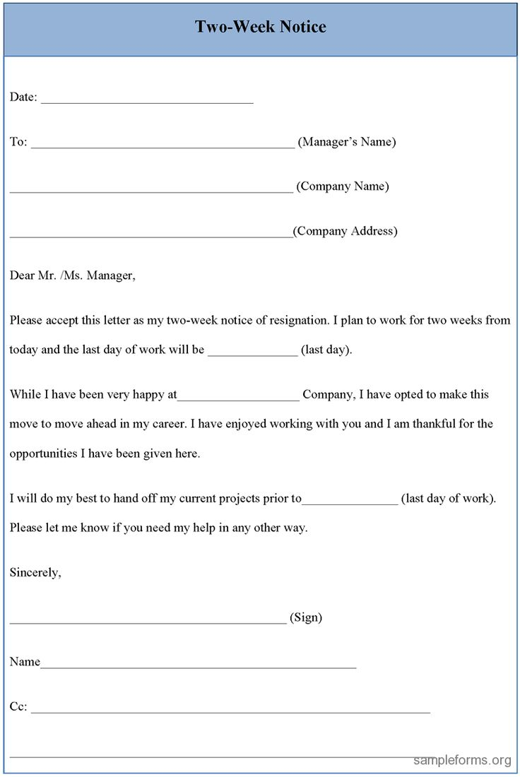 17 best ideas about sample of resignation letter resignation letter sample 2 weeks notice two week notice form sample two