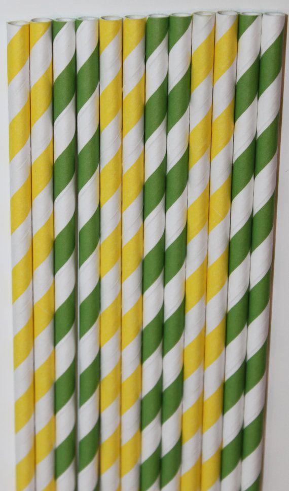 25 John Deere Inspired yellow green Stripe straws by PartyDelights, $4.00
