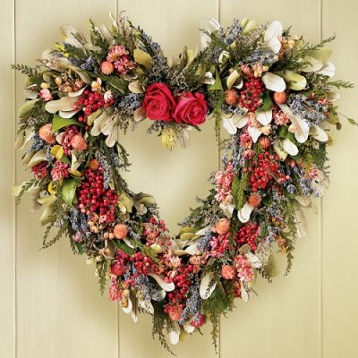 wreath made with dried flowers.