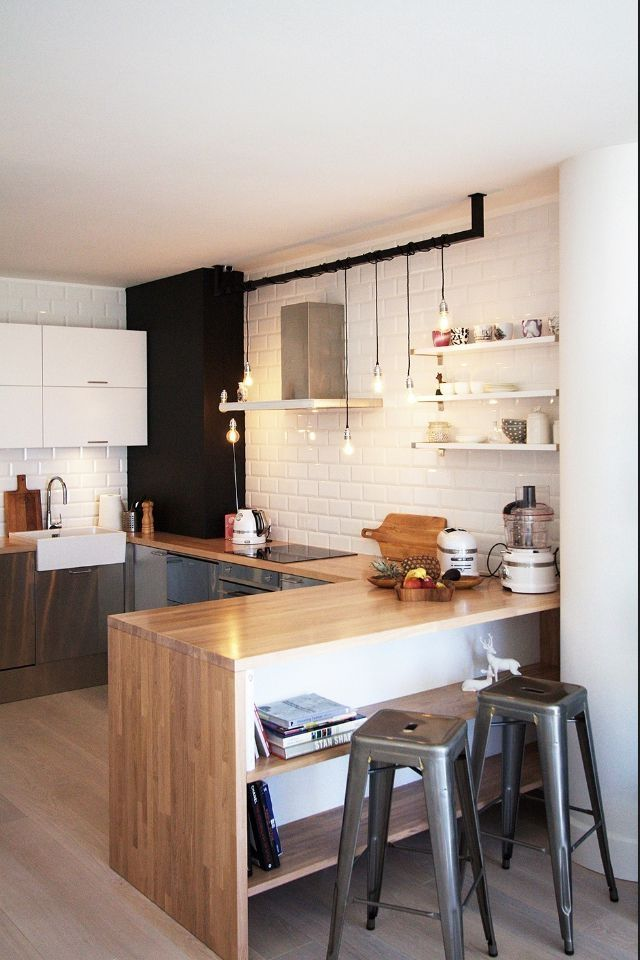 Lights for kitchen! Black or industrial bar with the hanging bulb lights (over island).
