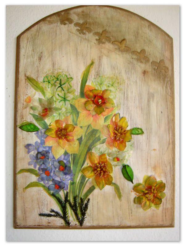 """Διακοσμητικό Καδράκι """"Μπουκέτο""""  More info at: http://woodys-crafts.wix.com/woodys-crafts#!xeiropoiita-kadrakia/crls"""