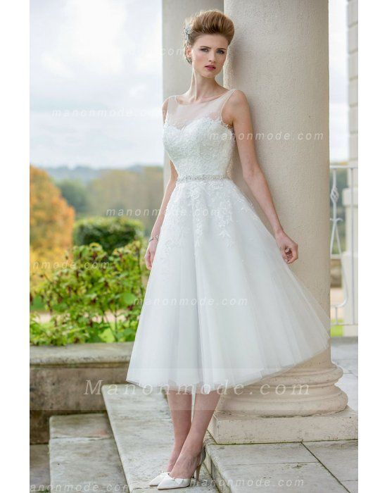 Sleeveless Illusion Neck Lace Bodice A-line Tea Length Tulle Wedding Dress with Belt