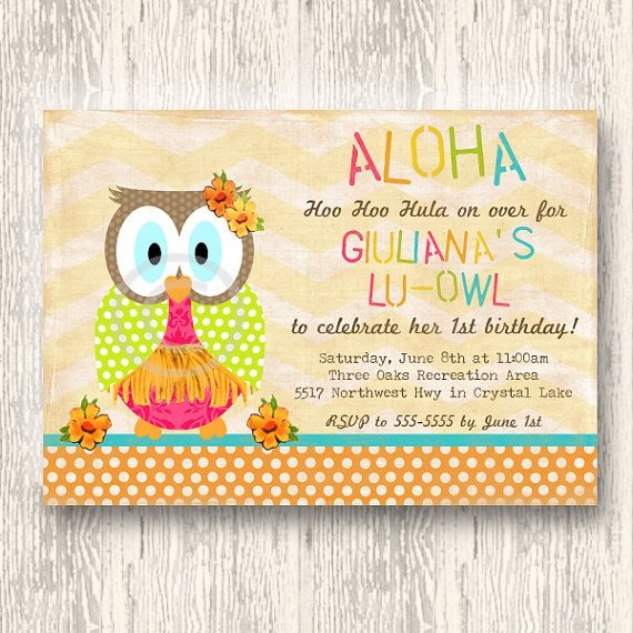 Aloha Owl Invitation for Birthday Party or Baby Shower - Girls Luau Lu-Owl DIY Printable Invite by BeeAndDaisy available only in our etsy shop!