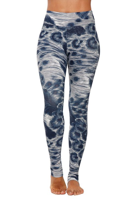 Liquido Patterned Legging - Silver Feathers