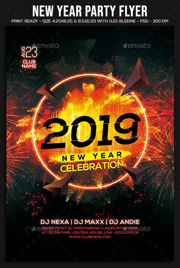 2019 new year party flyer template psd download new year party