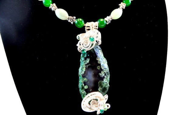 FREE EARRINGS with Wire wrapped necklace  Jade and by Livingforce, $100.00