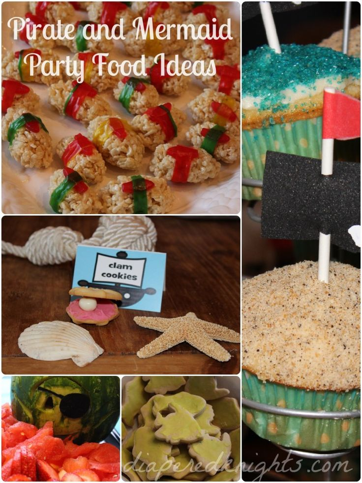 Pirate and Mermaid Party Food Ideas: cupcakes, rice krispie sushi, carved watermelon, clam-shaped cookies, and butter cookies via Heather at diaperedknights.com