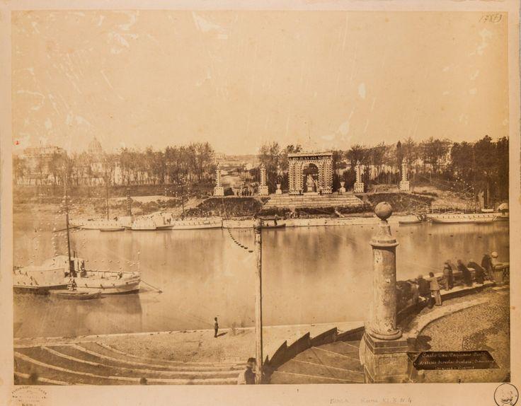Porto di Ripetta, veduta generale del Tevere dalla gradinata del porto (1860)