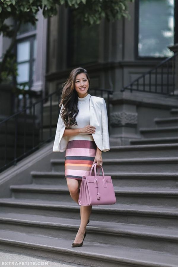 Striped Skirt Outfits For Office Looks, Copy This Style