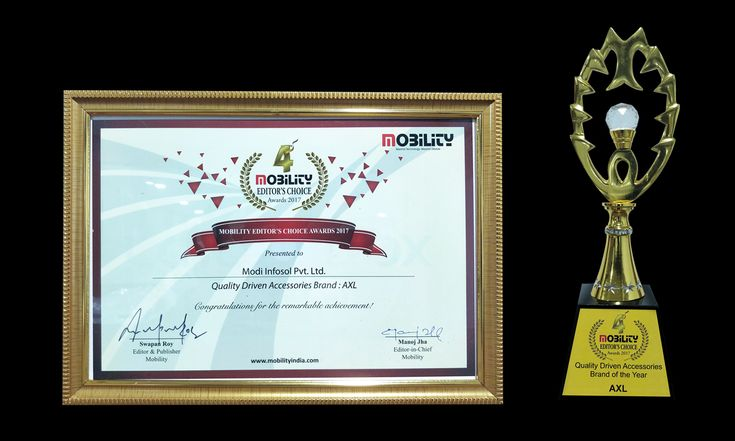 #Axl ( Brand of Modi Infosol Pvt.Ltd.) Achieved Best #Quality #Accessories #Award 2017 by Mobility.