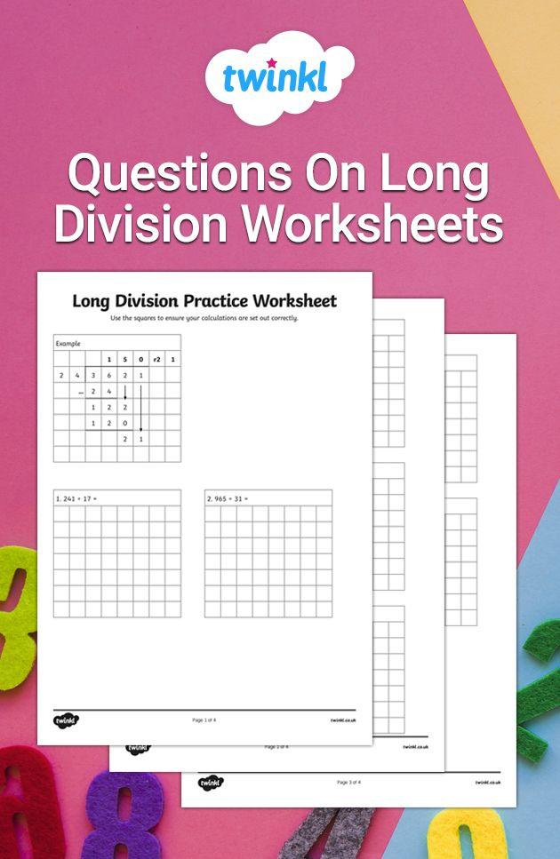 Teaching Long Division Ks2 Worksheets Long Division Worksheets Long Division Math Division