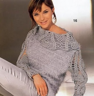 I would knit the body then add the crochet collar and sleeves.