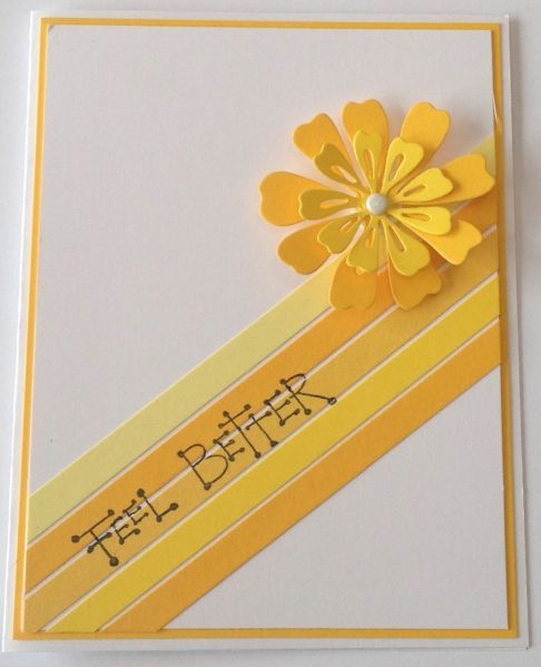 handmade get well card ... diagonal band of yellow strips wioth a delightful die cut layered and dimensional flower at the top ... like sun sending its warm rays ... sweet ...