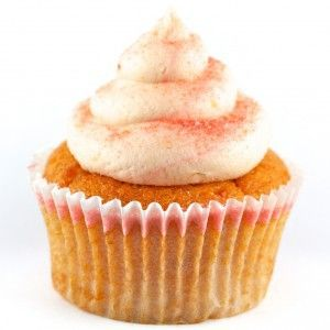 Peach cupcake with a peach champagne frosting. Yum.