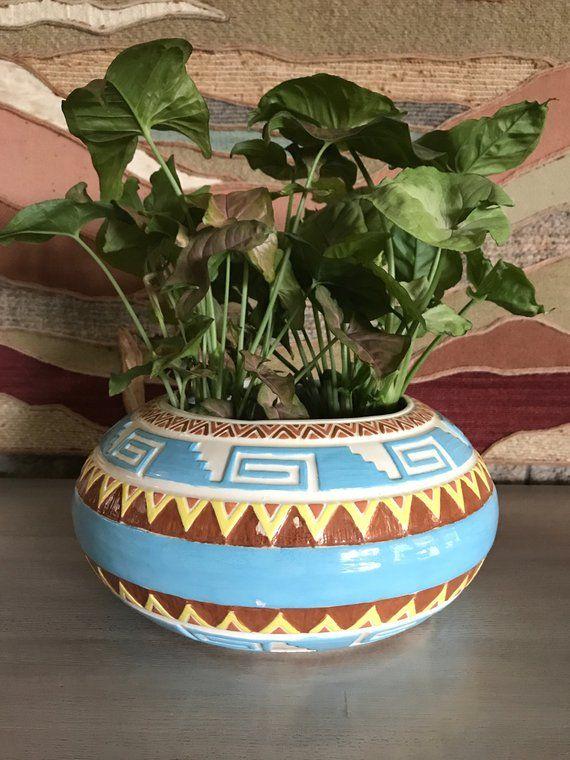 Aztec Design Large Planter Vintage Hand Painted Ceramic Donut Large Ceramic Planters Hand Painted Ceramics Ceramic Planters