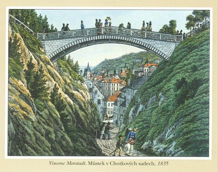 Vincenc Morstadt   Můstek v Chotkových sadech, 1835