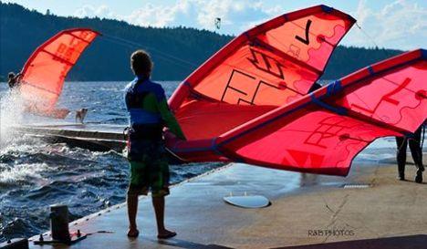 Kiteboarding in the Alberni Inlet. Port Alberni BC Vancouver Island Canada