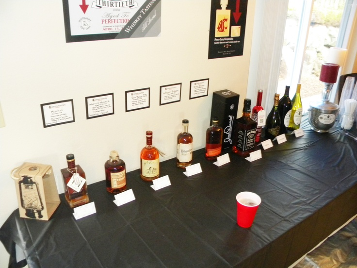 30th Birthday Party Local Whiskey Tasting Theme Display Liquor Table complete with descriptions of the various Bourbons.