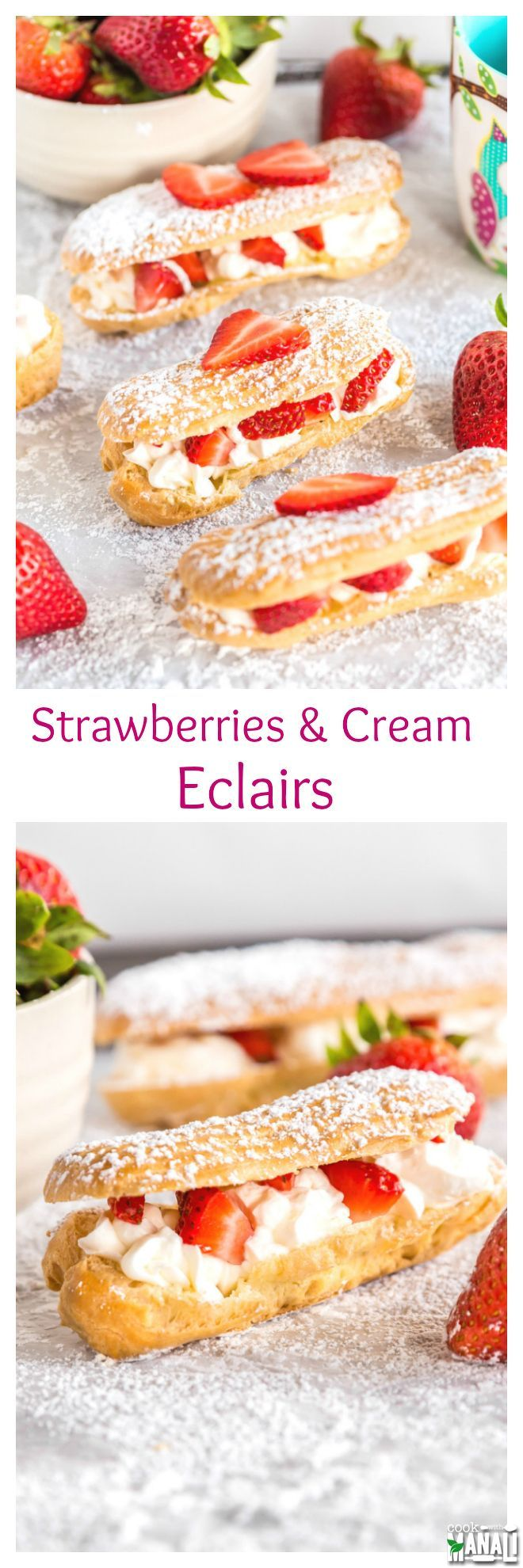 Homemade eclairs filled with whipped cream and fresh strawberries! These eclairs are lightly sweetened and the perfect dessert to enjoy this summer! Find the recipe on www.cookwithmanal...