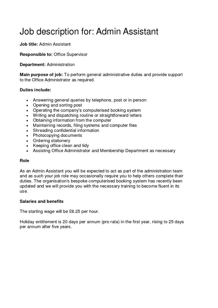 Best 25+ Administrative assistant job description ideas on - sample of administrative assistant resume