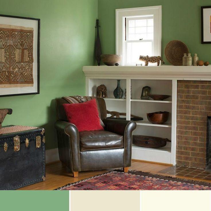 Wand streichen – 37 Ideen für farbige Wandgestaltung   Wände streichen, Grüne wohnzimmer ...