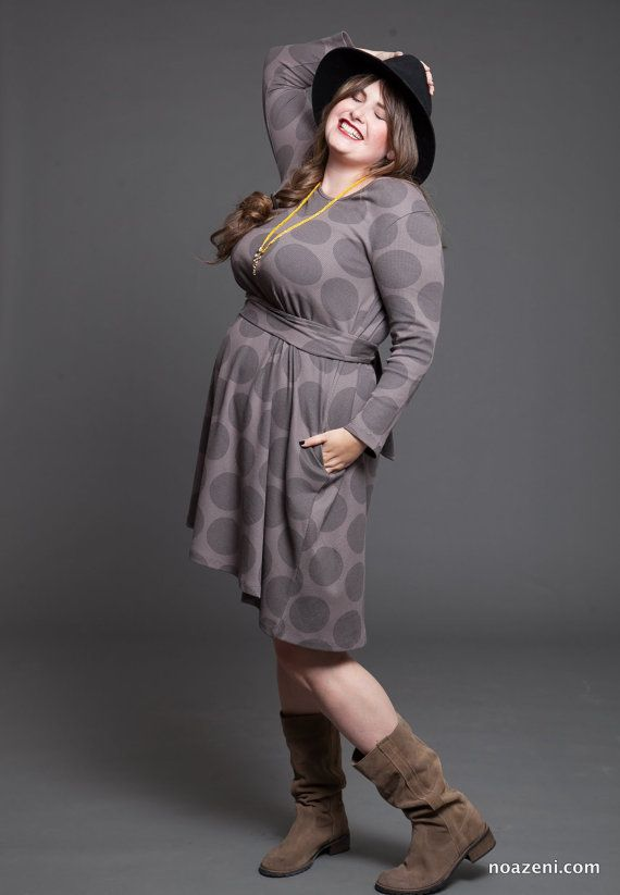 Grey polka dots midi dress  winter dress  oversized by TAPUmeyou