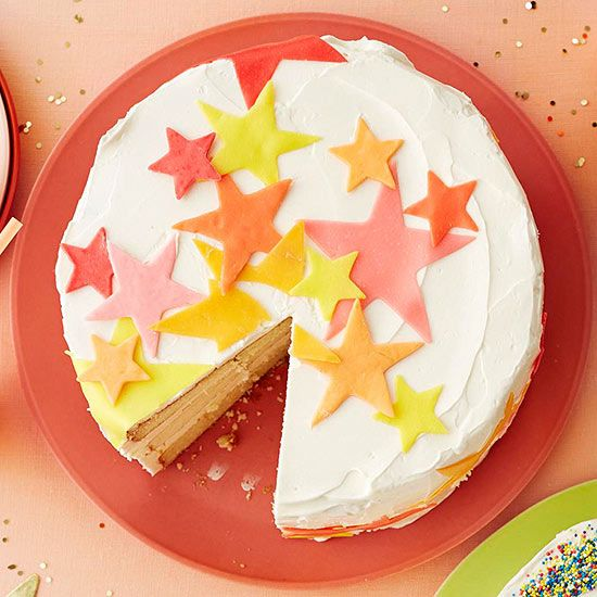 """Microwave Starburst candies, flatten with a rolling pin, and shape with cookie cutters for a cake design that will be the """"star"""" of any party!"""